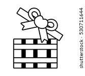 pictogram open gift box bow...