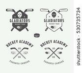 set of vintage hockey emblems ... | Shutterstock .eps vector #530735734