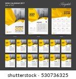 set yellow desk calendar 2017...