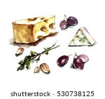 watercolor cheese with nuts and ... | Shutterstock . vector #530738125