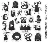 set of twenty black and white... | Shutterstock .eps vector #530746954