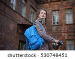 hipster woman with blue... | Shutterstock . vector #530748451