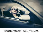 young woman in sunglasses... | Shutterstock . vector #530748925