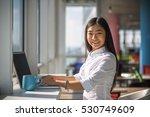 portrait of happy businesswoman ... | Shutterstock . vector #530749609