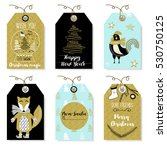 christmas badges with animals... | Shutterstock .eps vector #530750125