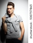 sexy young man in fashion style.... | Shutterstock . vector #530757865