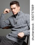 sexy young man in warm knit... | Shutterstock . vector #530757889