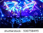 silhouettes of concert crowd in ... | Shutterstock . vector #530758495