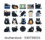 Stock vector business finance cat icons 530758531