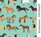 Stock vector seamless pattern with horse in flat style 530764639