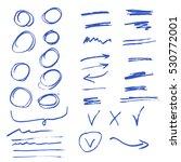 hand drawn arrow set  circle... | Shutterstock .eps vector #530772001
