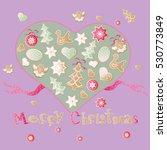 christmas green vector biscuit...   Shutterstock .eps vector #530773849