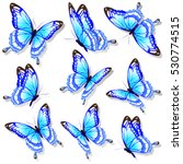 Stock vector color butterflies isolated on a white 530774515