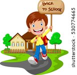 happy boy running while... | Shutterstock .eps vector #530774665