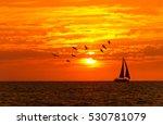 Ocean Sunset Sailboat Birds Is...