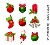set of red and green christmas... | Shutterstock .eps vector #530786605
