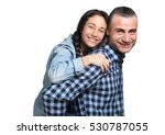 piggyback with dad. young girl... | Shutterstock . vector #530787055