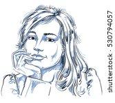 vector art drawing of pensive... | Shutterstock .eps vector #530794057