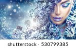 winter beauty woman. christmas... | Shutterstock . vector #530799385