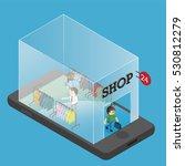 shopping online on mobile phone | Shutterstock .eps vector #530812279