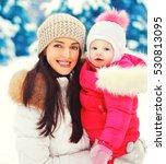 winter portrait happy smiling... | Shutterstock . vector #530813095