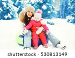 winter happy smiling mother and ... | Shutterstock . vector #530813149