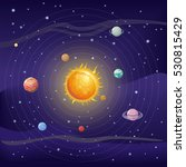 solar system with stars  sun ... | Shutterstock .eps vector #530815429