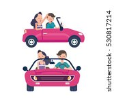 driver wite car and young woman | Shutterstock .eps vector #530817214