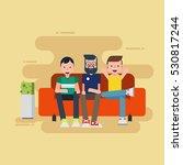 three man sitting on sofa    Shutterstock .eps vector #530817244