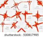 Set gift card vector illustration on white background, luxury wide gift bow with red ribbon and space frame for text, gift wrapping template for banner, poster design. Simple cartoon style Flat design | Shutterstock vector #530817985