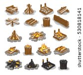 campfire and firewood set... | Shutterstock .eps vector #530818141