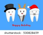 happy cute cartoon tooth.... | Shutterstock .eps vector #530828659