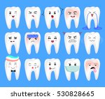 teeth with different emotions.... | Shutterstock .eps vector #530828665