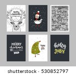 set of merry christmas cards.... | Shutterstock .eps vector #530852797