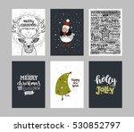 set of merry christmas cards.... | Shutterstock .eps vector #530852797
