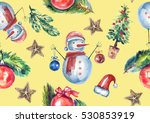 hand drawn watercolor seamless... | Shutterstock . vector #530853919