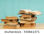 open book  stack of hardback... | Shutterstock . vector #530861371