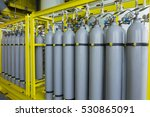 a bundle of grey gas cylinders... | Shutterstock . vector #530865091