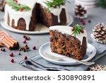 christmas fruit cake  pudding... | Shutterstock . vector #530890891