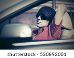 young man in sunglasses driving ... | Shutterstock . vector #530892001