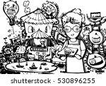 hand draw of imagination boy... | Shutterstock .eps vector #530896255
