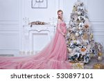 pregnant woman in a pink dress... | Shutterstock . vector #530897101