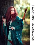 beautiful red haired girl in... | Shutterstock . vector #530899951