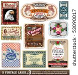 Stock vector vintage labels collection design elements with original antique style set 53090017