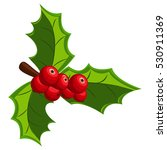 holly berry with three leaves.... | Shutterstock .eps vector #530911369