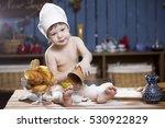 cook a little boy drinking milk | Shutterstock . vector #530922829