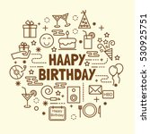 happy birthday minimal thin... | Shutterstock .eps vector #530925751