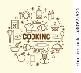 cooking minimal thin line icons ... | Shutterstock .eps vector #530925925