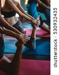 people practicing yoga and... | Shutterstock . vector #530932435