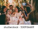 friends celebrating christmas... | Shutterstock . vector #530936689